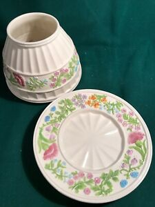 Yankee Candle SET Jar Shade & plate White Ribbed with floral band HTF RARE