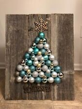 CHRISTMAS ~ Wooden Wall Plaque with Christmas Bulb Tree ~ Home Décor / Craft