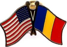 LOT OF 3 Romania Friendship Flag Lapel Pins - Romanian Crossed Flag Pin