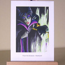 Desperation of a lonely Maleficent in WDCC drawing in oil painting style ACEO