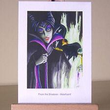 Disperazione di un SOLITARIO Maleficent nel disegno WDCC nella pittura ad olio stile ACEO