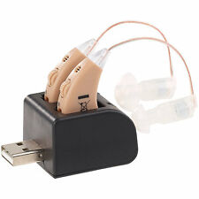 Hörhilfe: HdO-Hörverstärker-Paar HV-340 mit Ex-Hörer, Akku & USB-Ladeschale