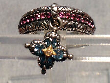 Barbara Bixby Sterling Silver 18k Multi-Gemstone Dangle Charm Ring Size 9