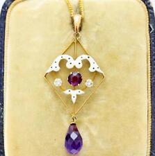 A Magnificent Edwardian Diamond, Amethyst & Enamel Pendant Circa 1890 -1910