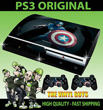 Playstation PS3 Original Aufkleber Captain America Avengers Hülle & 2 Polster