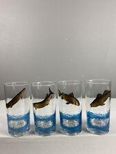 New listing Set Of 4 Sports Kings High Ball Glasses ( World Record Fish ) 22 Karat Plated.