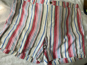 New Womens Plus Size 26 Old Navy Striped Linen Blend Everyday Shorts Mid Rise