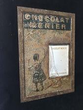 """""""CHOCOLAT MENIER"""" Panneau-cadre miroir en tôle lithographiée Publicitaire"""