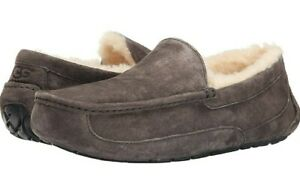UGG ASCOT NEW Mens Genuine Suede Wool Fur Slippers Gray Mens Sz 9 Wmns 10.5