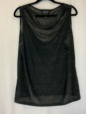 NY&CO Sleeveless Black/Silver Lightweight Top Size XL Front Cowl Neck