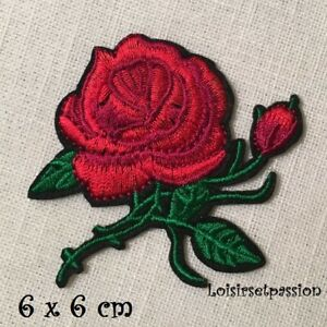 APPLIQUE ÉCUSSON PATCH THERMOCOLLANT, FLEUR ROSE ROUGE ** 6 x 6 cm ** C107