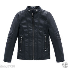 Kids Boys Girls Coats Jacket Leather Parkas Casual Coat Turn-down Collar Clothes