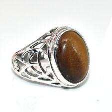 Natural Tiger Eye Gemstone Solid 925 Sterling Silver Father Gift Men Ring