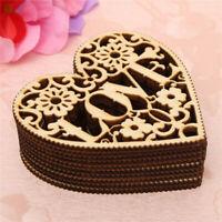 10 PCS Laser Cut Decorative Love Heart Unfinished Wooden Decoration Shapes Z9G1