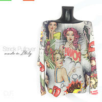 Strick Pullover *Made in Italy 'Comic' Print Muster Langarm Pulli Gr: 38-46