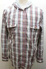 FCUK Men Shirt Polo Long Sleeve Plaid 100% Cotton UK Made Gray Red Hoodie Med