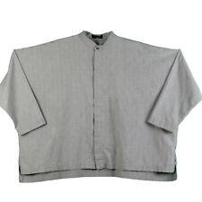 Eskandar Size 0 Oversized Boxy Button Down Shirt Gray Plaid Cotton