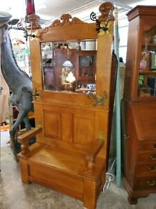 Antique Large Oak Hall Tree Bench w/ Mirror - Excellent condition