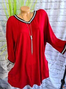 MiaModa Shirt Tunika Bluse 3/4 Arm rot Übergröße (427) Übergröße