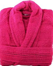 Fuchsia Pink Terry Towelling Bath Robe Dressing Gown 100% Cotton Medium Size