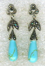 "925 Sterling Silver Turquoise & Marcasite Drop / Dangle Earrings 38mm (1.1/2"")"