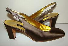 Vintage 1980s Bruno Magli Classic Bronze Satin Slingbacks Shoes Size 7B in Box