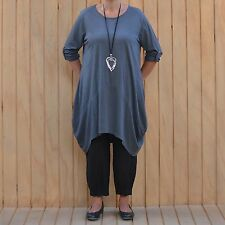 Lagenlook Cotton Jersey Tulip Dress Charcoal Plus Size 16-20 Bust 50 Inches J34