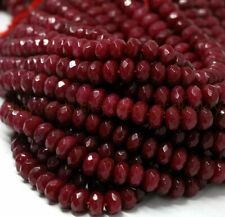 Genuine Natural Faceted Brazil Red Ruby Gemstone Rondelle Loose Beads 4/6/8mm