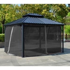 ALEKO Double Roof Aluminum and Steel Hardtop 12' x 10' Gazebo with Mosquito Net