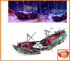 Large Aquarium Decorations Ornament Boat Ship Air Split Shipwreck Fish Tank Sunk