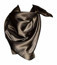 Elegant Large Silk Feel Solid Color Satin Square Scarf Wrap 36 by 36 (Black)