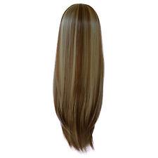 Femmes 3/4 PERRUQUE Demi Tête Cheveux À Pincer LISSE Marron Moyen/Blonde #6/613