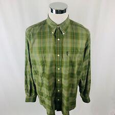 Beretta Green Plaids & Checks Button Front Shirt Mens Large L