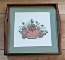 "Completed Folk Art Cross Stitch in Wood Tray Frame, 9.5"" Square, Country Fruit"