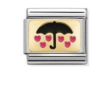 NOMINATION Charm schwarzer Regenschirm und rosa Herzen