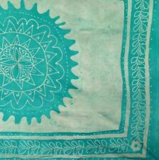 Handmade 100% Cotton Floral Batik Tapestry Tablecloth Throw Coverlet Green Twin