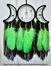 Black and Green Wiccan Triple Moon dreamcatcher w/ Tiger Eye Green Aventurine!