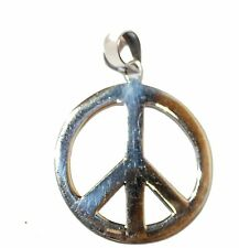 Peace and Love Sign Pendant .925 Sterling Silver Pendant - Hippie Pendant