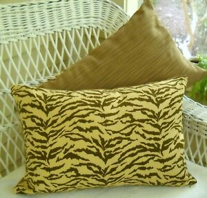 """Two chic pillow covers brown & tan  zebra  print  handcrafted 16"""" by 24"""""""