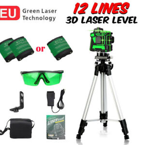 12 Line Laser Level Wasserwaage 360° Kreuzlinienlaser Selbstnivellierend +Stativ
