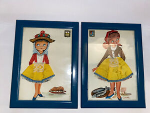 3D mixed media embroidered Castaner picture framed art ~ Segovia & Canada ladies