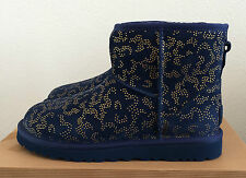 Womens Size 6 Navy Blue UGG Classic Mini Metallic Conifer Winter Boots  (Youth 4
