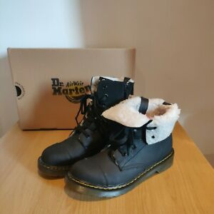 Dr Martens Womens Aimilita Y 6 Eye Fur Lined Black Suede Zip Boots Size UK 4