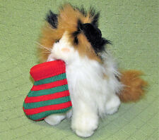 "VINTAGE CHOSUN CALICO CAT WITH CHRISTMAS STOCKING 8"" STUFFED ANIMAL PLUSH TOY"