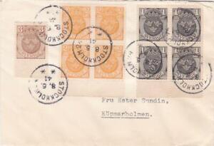 SWEDEN 1941 COVER POSTED STOCKHOLM NICE BLOCKS STAMPS