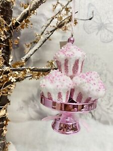 Christmas Tree Decoration X1 Hanging Blush Pink Glitter Cup Cake New