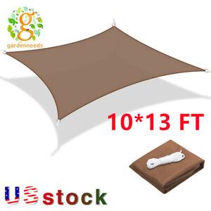 10*13FT Sun Shade Sail Canopy Rectangle Sand Uv Block Sunshade Outdoor Brown US