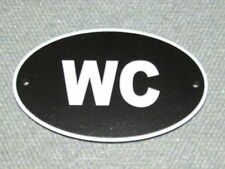 WATER CLOSET WC Wood English Bathroom Sign Plaque Restroom White Letters