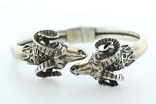 Vintage Sterling Silver 925 Double Ram Head Aries Hinged Greek Bangle Bracelet