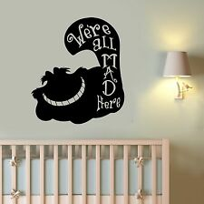 Cheshire Cat Vinyl Decal Alice In Wonderland Wall Sticker Art Bedroom Decor Al3
